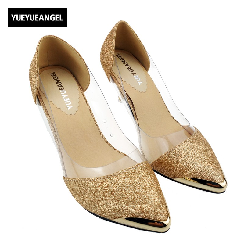 Ladies Fashion Pointed Toe Glitter Gorgeous Wedding Bridal Evening Party Kitten High Heels Shoes Plus Size Black Gold Silver 2017 new fashion spring ladies pointed toe shoes woman flats crystal diamond silver wedding shoes for bridal plus size hot sale