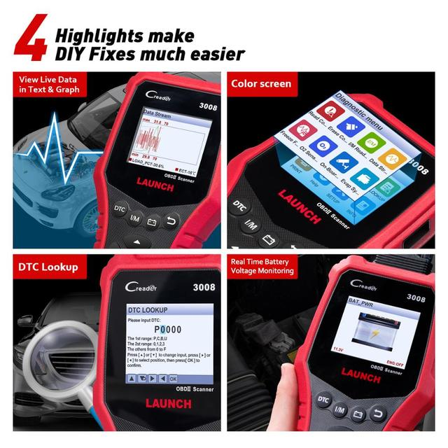 LAUNCH X431 CR3008 OBD2 Automotive Scanner OBD 2 OBDII Code Reader Diagnostic Tool free update pk KW850 NT301 AD510