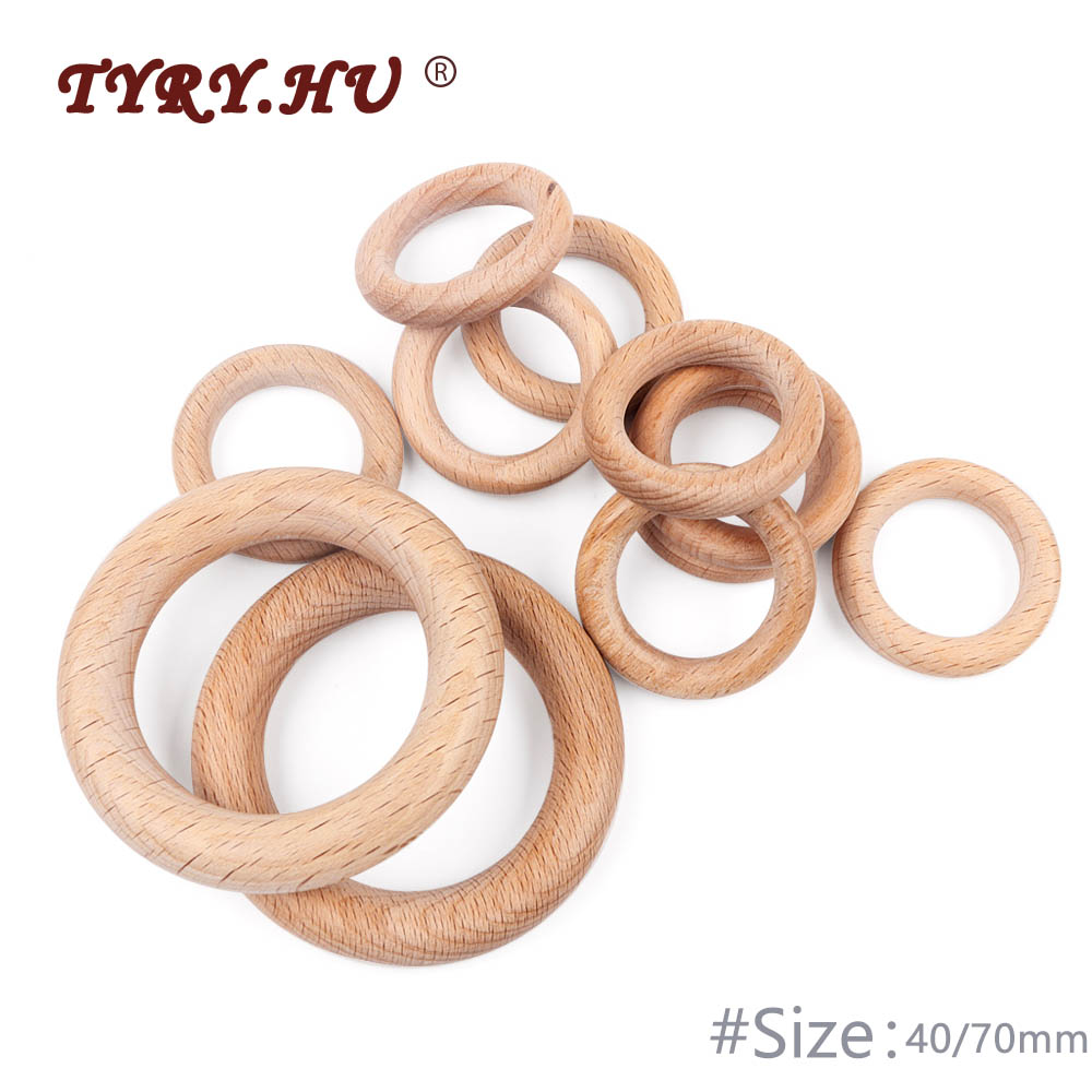 TYRY.HU 5Pcs 40/70mm Organic Beech Wood Teether Baby Teething Ring Smooth Round Wooden Teether Toy DIY Pacifier Chain Accessorie