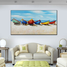 100% Handpainted Canvas Wall Art modern boat Painting white blue seascape Oil Modern Home Decoration Picture