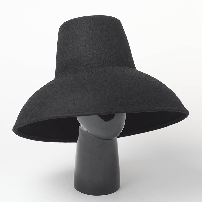 01809 haihong8132 wool fashion High top catwalk desige winter fedoras cap men women leisure hat