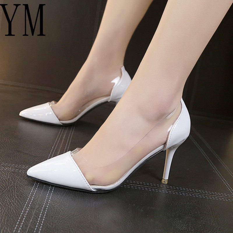 2018 Latest Fashion Women THIN High Heels Luxury Brand Exclusive Leather and PVC Pointed Toe Pumps Dress Shoes 8CM  size 34-39 high heels