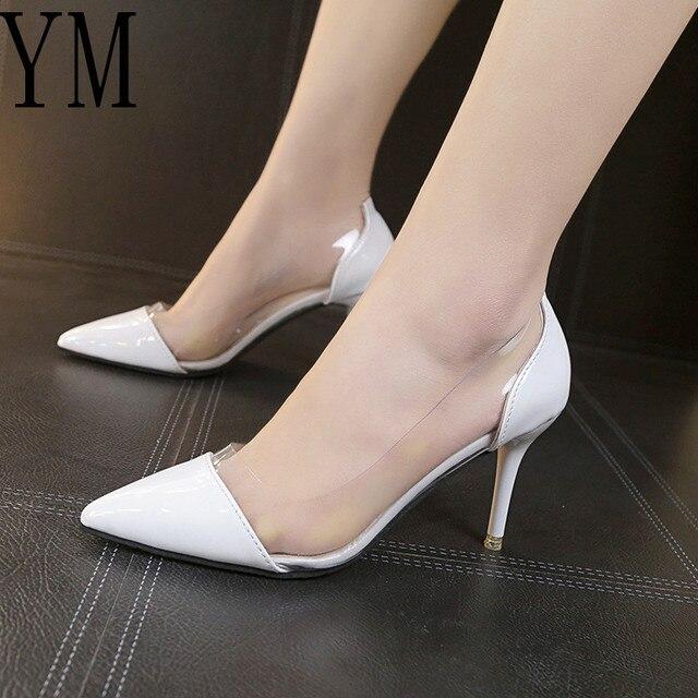 2018 última moda mujer tacones altos finos de lujo marca exclusiva cuero y PVC puntiagudos Zapatos de vestir Zapatos 8 CM tamaño 34-39