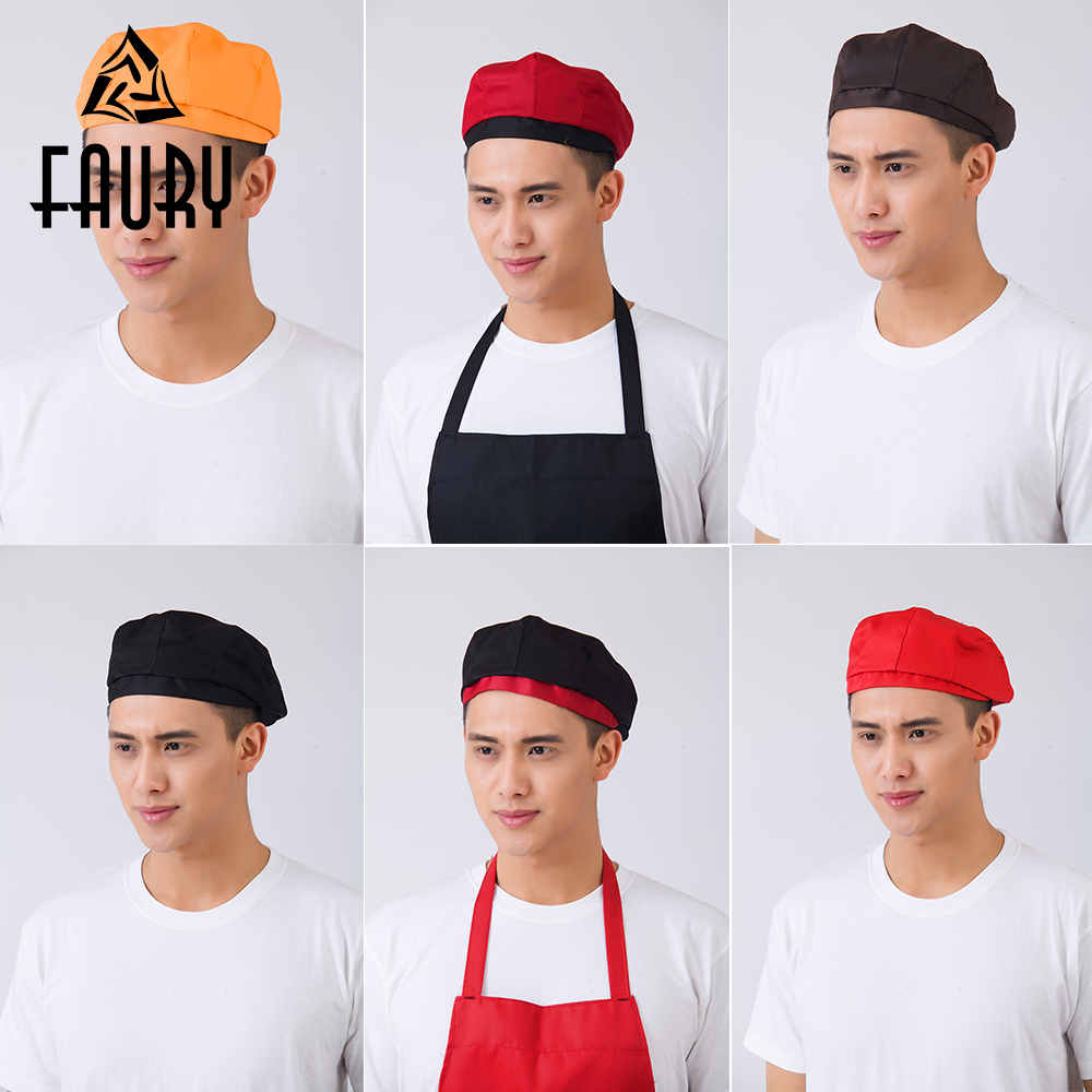 16 Colors Men Women Stitching Color Print Striped Plaid Patchwork Chef Work Wear Hats Waiter Hotel Food Service Waitress Caps