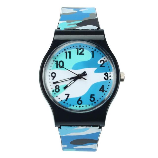 Super Quality 2018 Camouflage Children Watch Quartz Wristwatch Silicone Band For