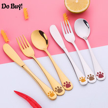 Kids Cutlery Set 18/8(304) Stainless Steel Cat Cartoon Lovely Knife Fork Sets 3 Pieces Children Flat ware Tableware Kits