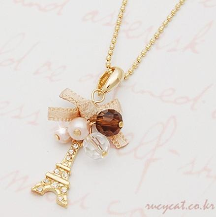 YANA  Jewelry Fashion  Gold Plated Bow Tower Statement Necklace For Woman 2015 New necklaces & pendants Sale N21