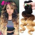 8А Блондинка Переплетения Пучки Бразильские Ломбер Человеческие Волосы 1B 4 27 Тела волна Дешевой Три Тона Ombre Бразильские Волосы Объемной Волны 3 Шт. Лот