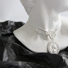 LouLeur 925 sterling silver vintage Elizabeth moneta pendente della collana rotonda dargento Fibbia quadrata collana di disegno femminile gioielli