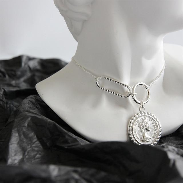 LouLeur 925 סטרלינג כסף בציר אליזבת מטבע תליון שרשרת כסף עגול כיכר אבזם עיצוב שרשרת נקבה תכשיטים