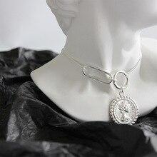 Louleur Bạc 925 Vintage Elizabeth Đồng Tiền Mặt Dây Chuyền Đẹp, Mặt Dây Chuyền Nam Bạc Vuông Tròn Thiết Kế Khóa Vòng Cổ Trang Sức Nữ
