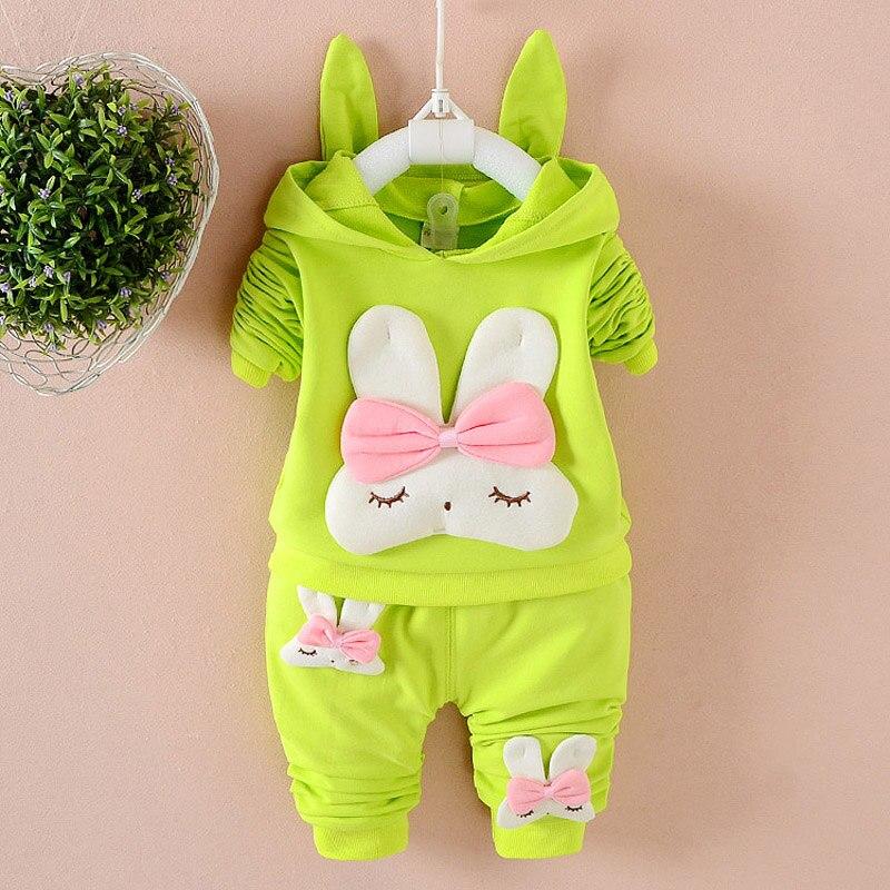 Baby Girls clothing Set Spring Cartoon Rabbit Child long Sleeve Hoodies Cotton suit Toddler Autumn sets kids tracksuit Clothes стоимость
