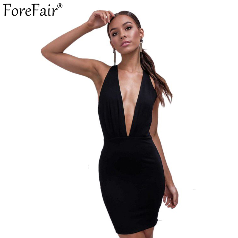 ForeFair Mini Club <font><b>Dress</b></font> Black Summer Women Bare Back Off Shoulder <font><b>Deep</b></font> <font><b>V</b></font> Neck <font><b>Sexy</b></font> Bodycon <font><b>Party</b></font> <font><b>Dress</b></font> 2019 image