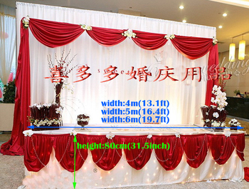 """13.1ft(W)*31.5""""(H) ice silk red Tablecloth wedding table skirt banquet table skirt with swag table cover wedding table swag"""