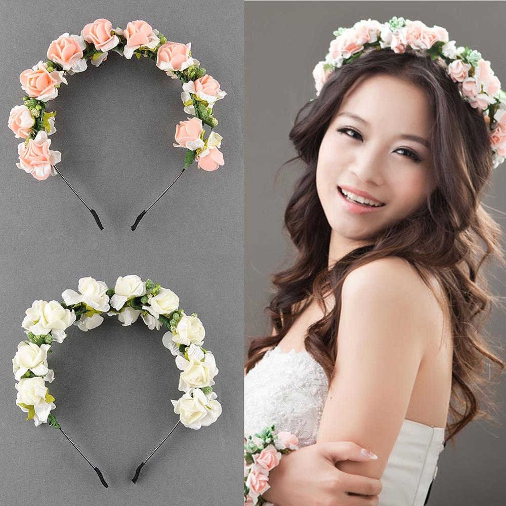 Stylish Women Girls Floral Headband Bohemia HairBand Flower Garland Wedding Prom Head wrap Hair Accessories Gift 2017 NewArrival women girl bohemia bridal camellias hairband combs barrette wedding decoration hair accessories beach headwear