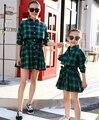 Мать Дочь Платья Мода С Длинным Рукавом Плед Семья Посмотрите Одежды Соответствия Мама И Дочь Платье Одежду для Всей Семьи