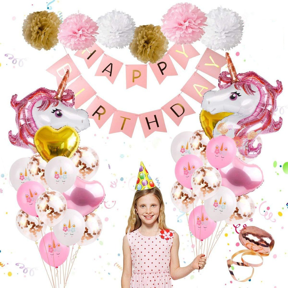 35pcs Unicorn Balloon Set Birthday Party Kids Decorations Jungle Party Unicorn Themed Party or baby shower Supplies Banner in Ballons Accessories from Home Garden