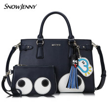 ff090db6c9 Women Leather Embroidery Handbags Girl Shoulder Bags Messenger Bag Female  Totes Braccialini Style Cartoon Big Eyes