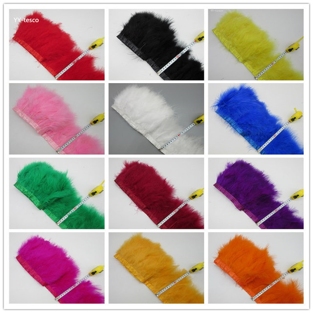 Sell 10 Yards fluffy Beautiful Turkey feathers ribbon fringe 5-7inch turkey feather trimming for carnival costumes DIY Clothing