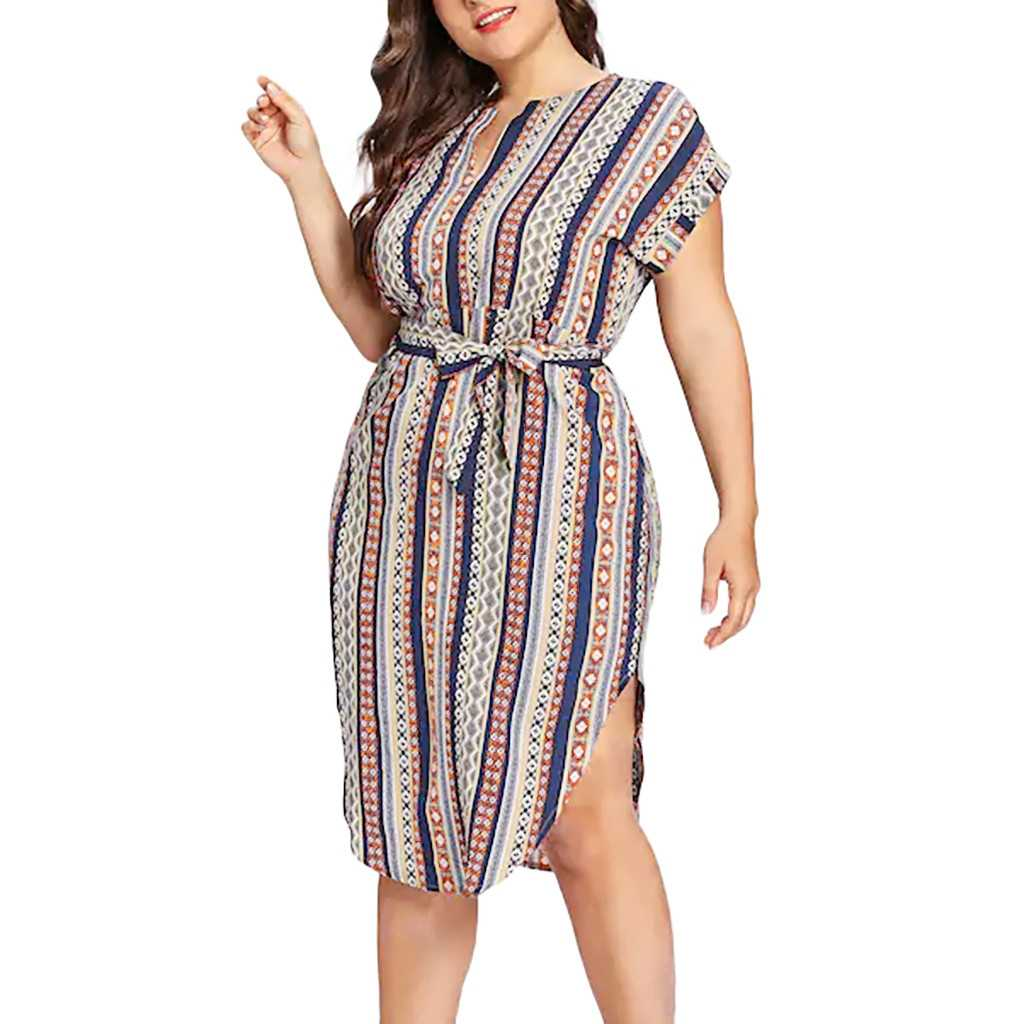 JAYCOSIN 2019  Fashion Women Plus Size Casual Colorful Stripe Print Short Sleeve Bandage Dress  Belted Desses  19MAY8