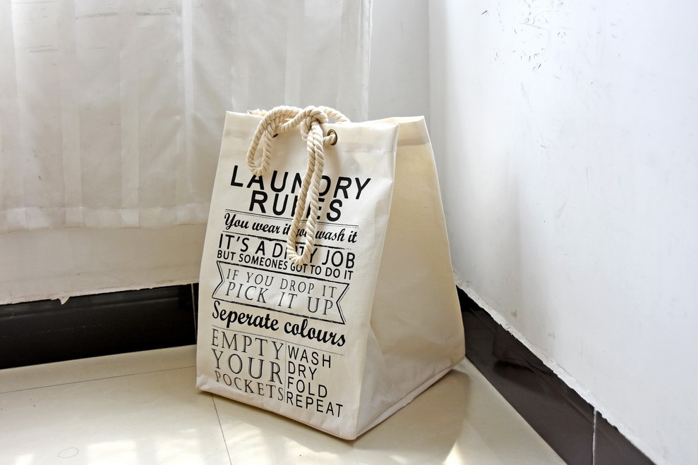 Us 17 99 New Arrived Extra Large Laundry Bag Quality Basket Foldable Storage Barrel 49 37 45cm Natural Style Printed Linen Free Shippinh In