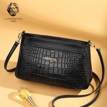 LAORENTOU Women Skin Bag Quality Elegant Cowhide Leather Messenger Alligator Female Crossbody Valentines Day Present