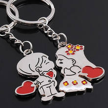 JETTINGBUY 1 Pair Couple Lover Gift Key Rings Chains Fob Metal Bride Groom Heart Love Keychains Christmas Gift car key(China)