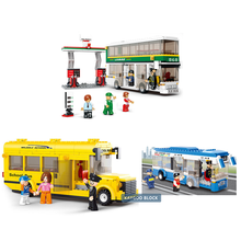 Airplane Air Bus Building Blocks Sets Single Double Deck School City Bus Plane DIY Enlighten Bricks Kids Toys Christmas Gifts(China)