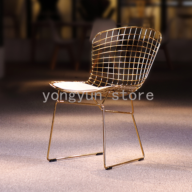 Steel Chair Gold Toddler With Straps Uk Modern Wire Home Furniture Minimalist Classic Side Loft Cafe Iron Dining Chairs Color