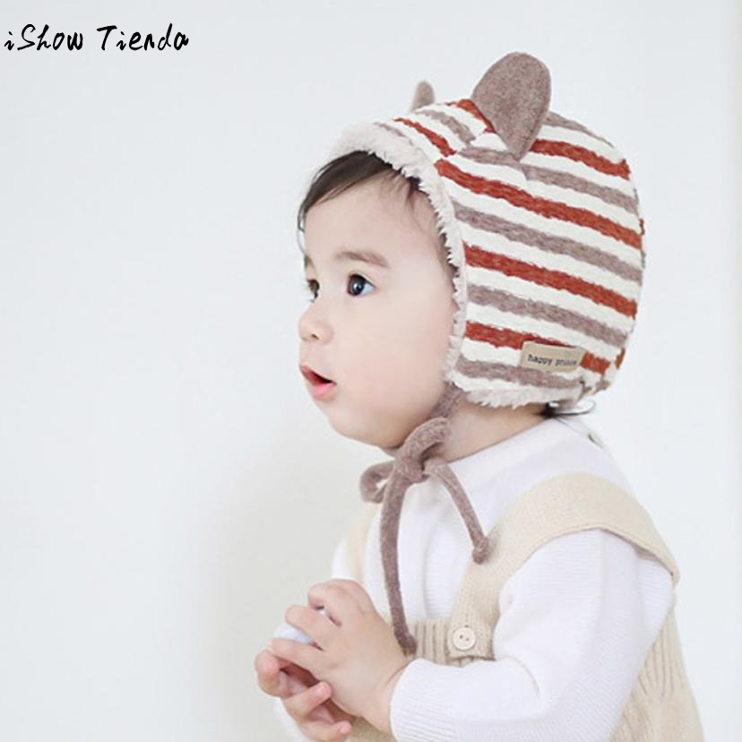 Baby Boy Cap Toddler Boy Girl Hat Striped Baby Hat Winter Lovely Ears Soft Hat Bonnet Enfant Beanie Baby