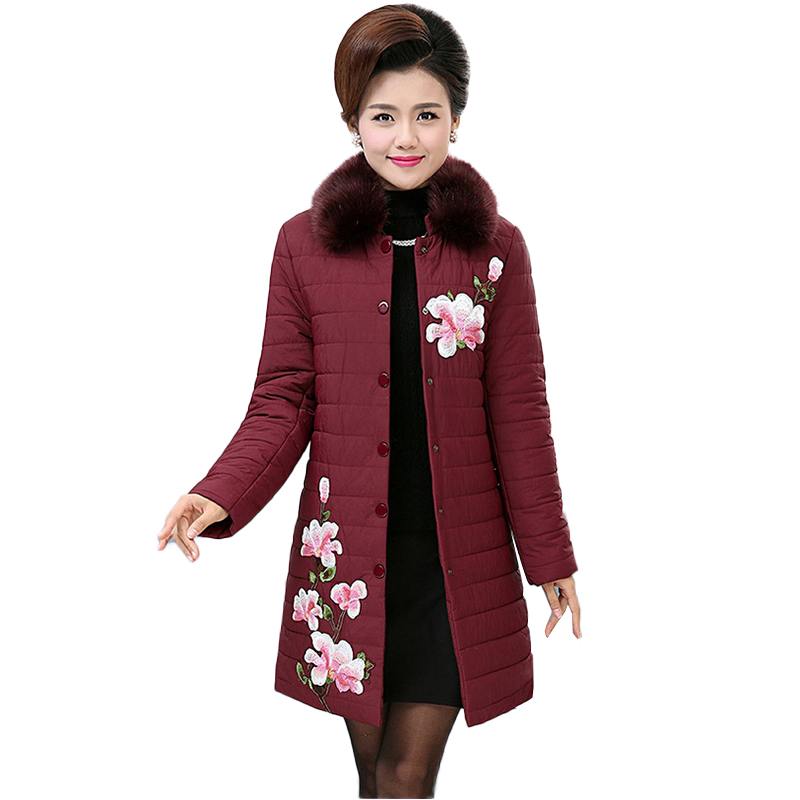 Winter Jacket Women Big Fur Hooded   Parka   Long Coats Cotton Embroidered flowers Padded Ladies Winter Women Warm Thick outerwear