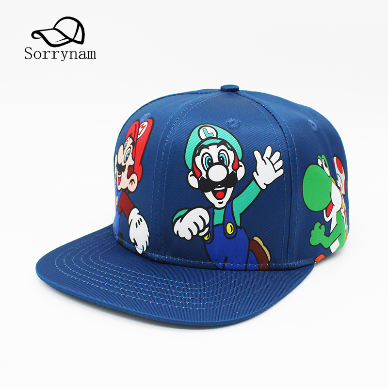 Cartoon Super Mario Bros Luigi Yoshi Baseball Caps Flat Hip Hop Snapbacks Caps For Men Women Unisex Cosplay New Fashion Sun Hat 2016 new unisex solid knit beanie hat winter sports hip hop caps for men and women bonnet gorros 20 colors for choose