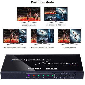 1080P 3D 4x1 Quad Multi Viewer Seamless Switch HDMI Switcher Video Screen Splitter Converter Fr PS4 TV STB DVD PC Computer to TV