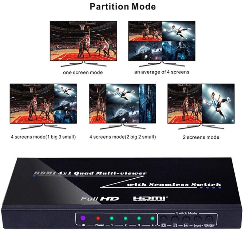 1080P 3D 4x1 Quad Multi visionneuse commutateur sans soudure HDMI commutateur 4 vidéo écran séparateur temps réel multi-visionneuse PIP image Cutter