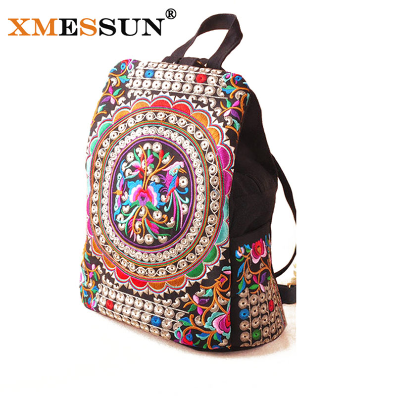 Xmessun Brand National Canvas Embroidery Ethnic Backpack Women Handmade Flower Bag Travel Bags Schoolbag Backpacks Mochila B735