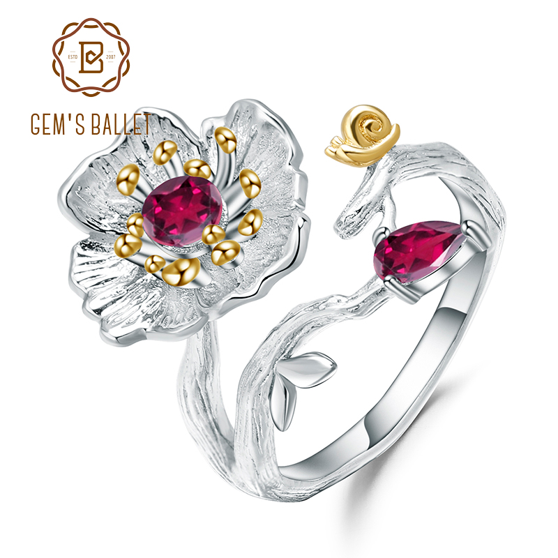 GEM'S BALLET  Natural Rhodolite Garnet Ring 925 Sterling Silver Handmade Blooming Poppies Flower Rings For Women Fine Jewelry