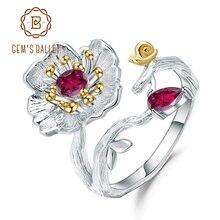 GEMS BALLET  Natural Rhodolite Garnet Ring 925 Sterling Silver Handmade Blooming Poppies Flower Rings for Women Fine Jewelry