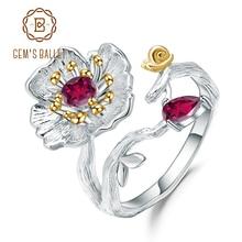 GEMS בלט טבעי Rhodolite גרנט טבעת 925 כסף סטרלינג בעבודת יד פריחת פרגים פרח טבעות לתכשיטי נשים
