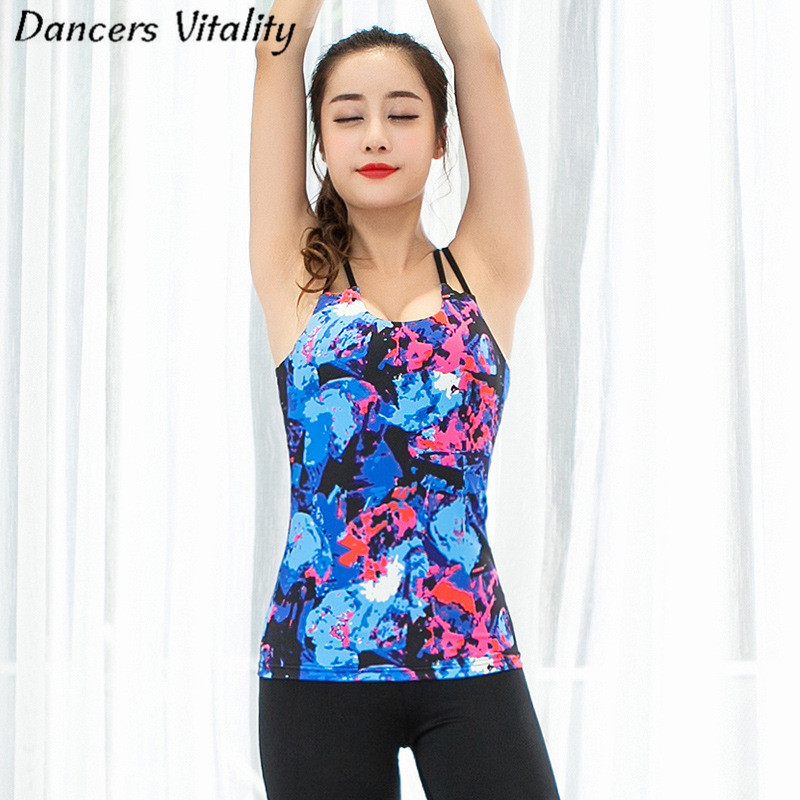 Large size elastic printing yoga clothes coat cross the United States back sling sports fitness sportswear vest with chest pad