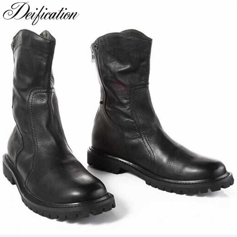 62401a38e1 Deification Luxury Black Chelsea Boots Back zipper Falt Martin Boots Men  Handmade Motorcycle Cowboy Boots Mid