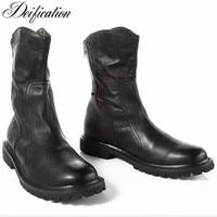 Deification/Роскошные черные ботинки челси с молнией сзади, Ботинки martin на плоской подошве, мужские мотоциклетные ковбойские ботинки ручной рабо