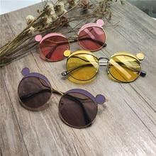 Новое поступление, Modis, детские солнцезащитные очки с мультяшными медвежьими ушками, зеркальные металлические солнцезащитные очки для мальчиков и девочек, праздничный подарок для детей, Oculos Feminino