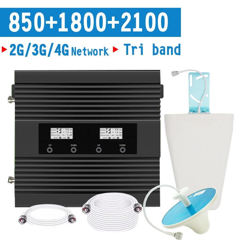 2G 3G 4G Cellphone Signal Booster CDMA 850 DCS 1800 WCDMA 2100 Mobile Signal RepeaterB1 B3 B5 65dB Gain 3G 4G LTE Amplifier Set