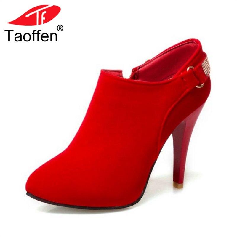 TAOFFEN Size 31-50 Women High Heel Pumps Thin Heels Zipper Round Toe Bling Shoes Woman Elegant Office Ladies Footwear цена