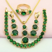 WPAITKYS Green Created Emerald Gold Plated Jewelry Set For Women Jewellery Earrings Necklace Pendant Ring Bracelet
