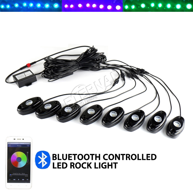 free shipping RGB wireless remote rock light for Wrangler TJ JK YJ CJ Hummer Polaris ATV UTV 4x4 vehicles yatch boat