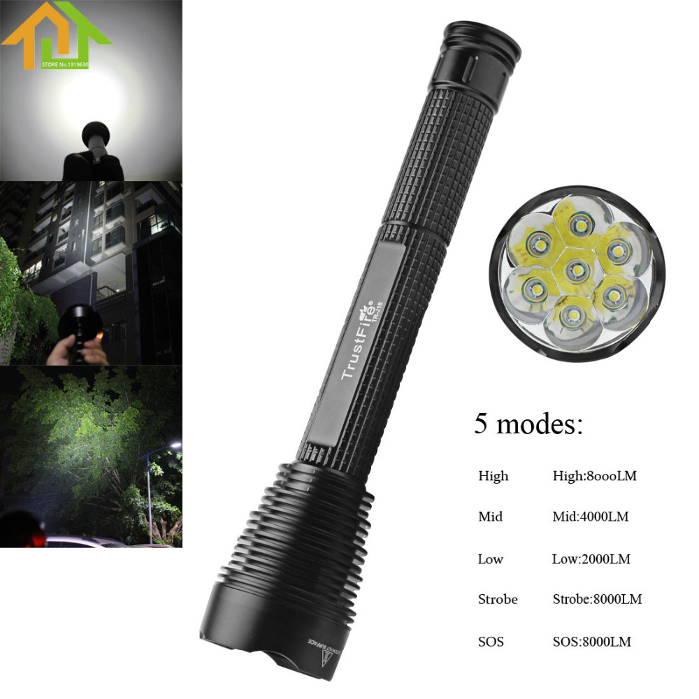 7000Lm TrustFire J18 LED Flashlight Outdoor Waterproof Extended Torch Lamp 5 Mode 7 x XM-L2 LED Flash Light trustfire tr j18 flashlight 5 mode 8000 lumens 7 x cree xm l t6 led by 18650 or 26650 battery waterproof high power torch