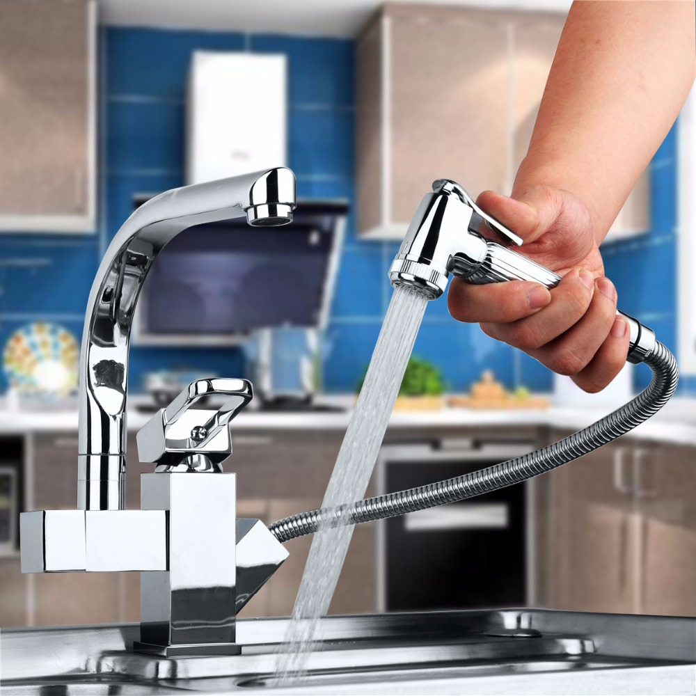Contemporary Kitchen Faucet Chrome Polished Deck Mounted Single Handle Single Hole Hot Cold Water Eminent Kitchen