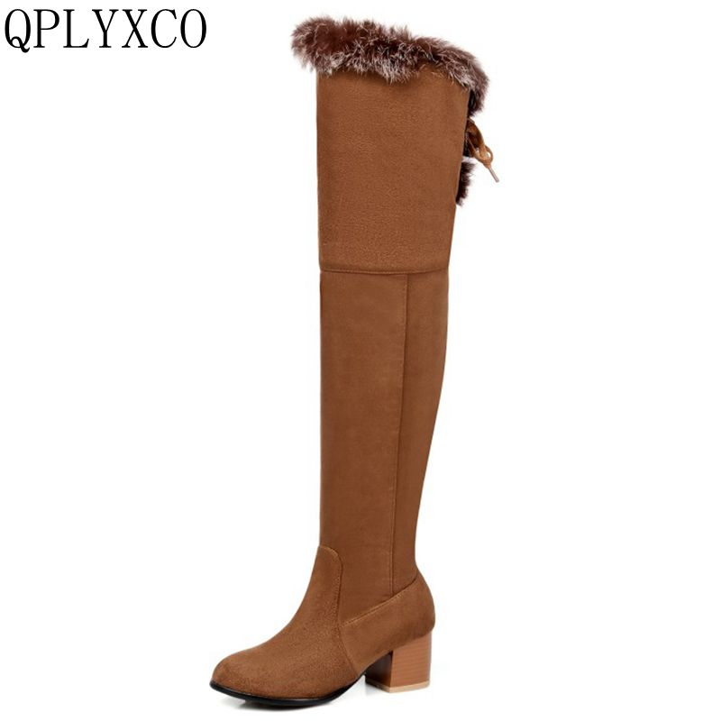 QPLYXCO New fashion Big Size 32-46 Russia Women Winter Warm Snow over the knee Long Boots Ladies high Botas pumps shoes C9-38 2016 fashion women winter shoes big size 30 50 low heel botas slip on stretch thin leg over the knee boots 30 31 32 33 hqw a98