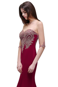 Image 4 - Robe de Soiree Longue Cheap Lace Half Sleeve Mermaid Burgundy Evening Dress Sexy Sheer Back Appliques Evening Gowns